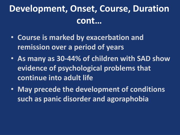 Development, Onset, Course,
