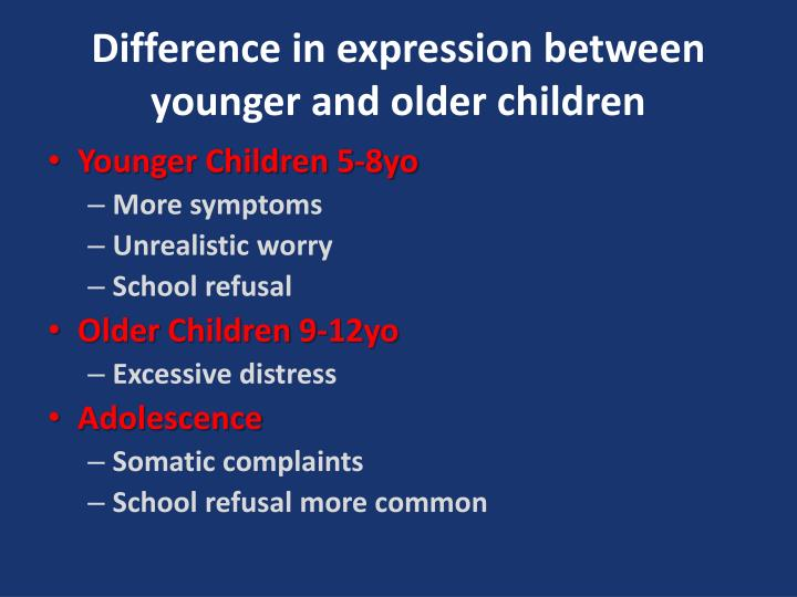 Difference in expression between younger and older children