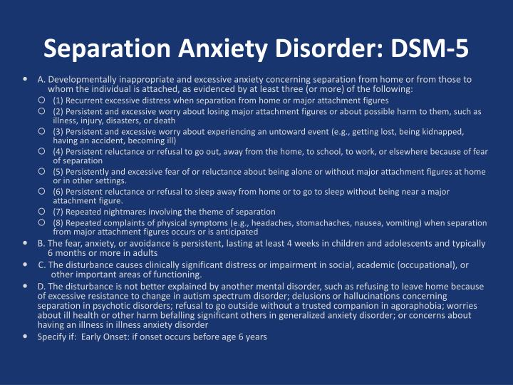 Separation Anxiety Disorder: DSM-5