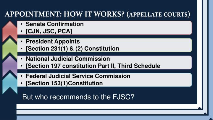 APPOINTMENT: HOW IT WORKS? (appellate courts)
