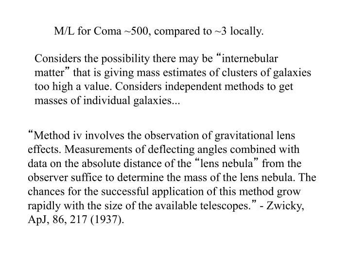 M/L for Coma ~500, compared to ~3 locally.