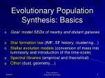 evol utio nary population synthesis basics