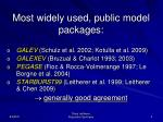 most widely used public model packages
