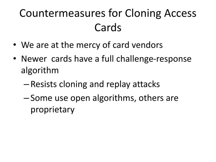 Countermeasures for Cloning Access Cards