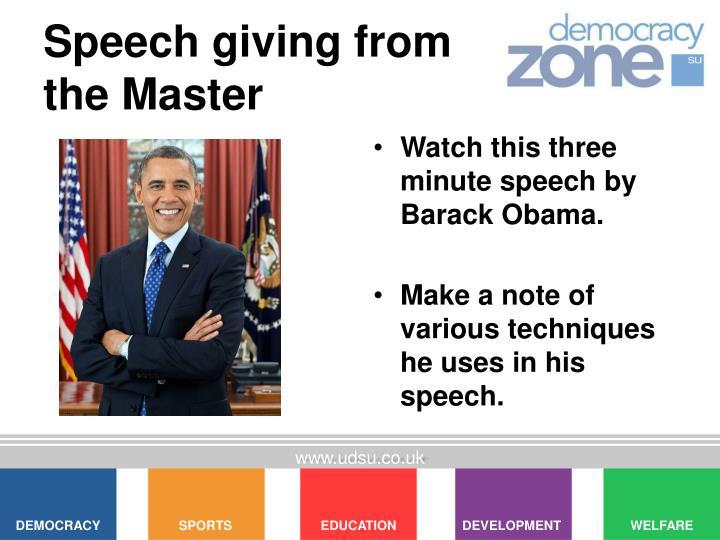 Speech giving from