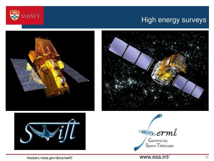 High energy surveys