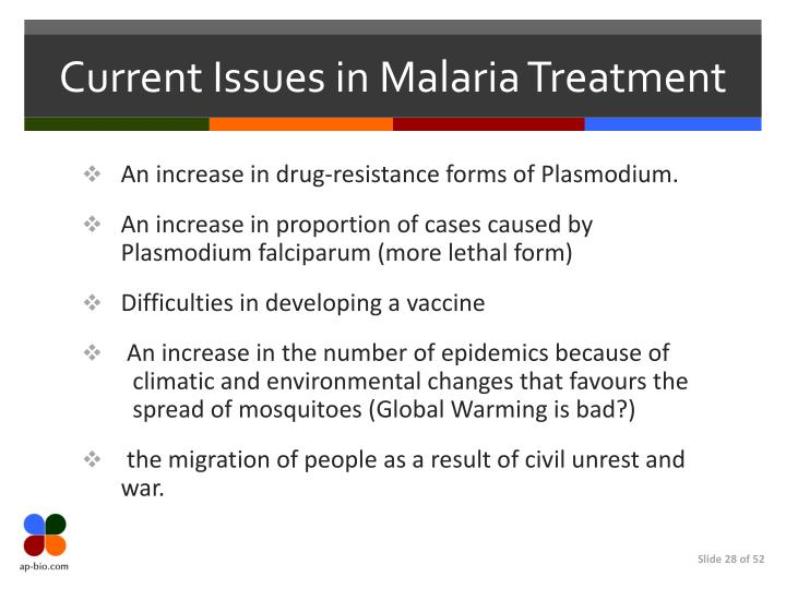 Current Issues in Malaria Treatment