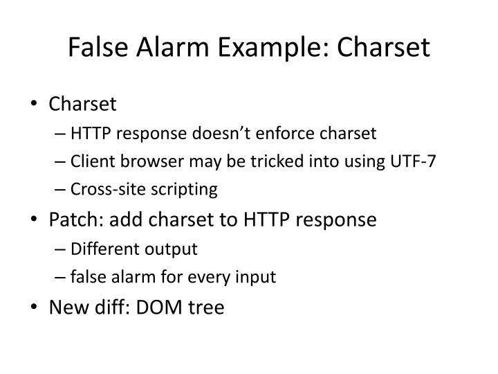 False Alarm Example: Charset