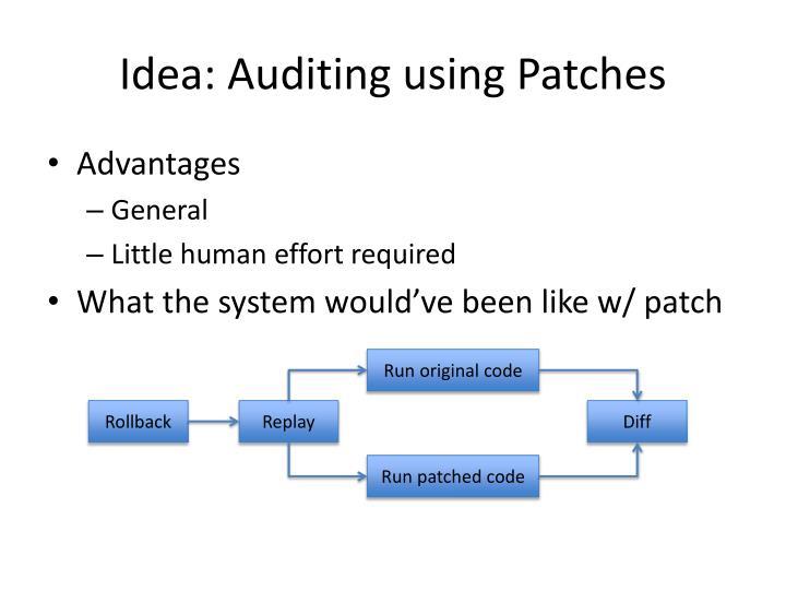 Idea: Auditing using