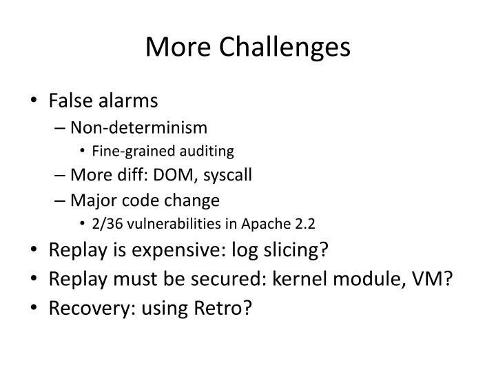 More Challenges