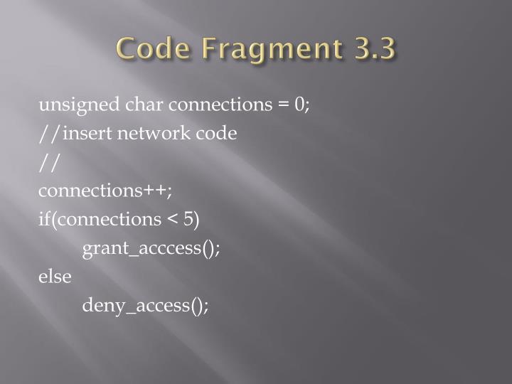 Code Fragment 3.3