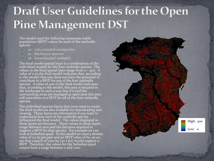 Draft User Guidelines for the Open Pine Management DST