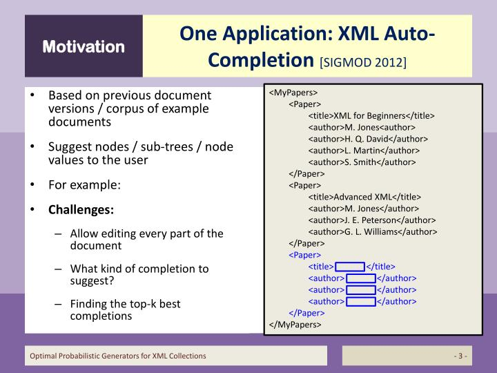 One application xml auto completion sigmod 2012
