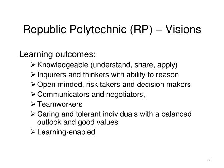 Republic Polytechnic (RP) – Visions