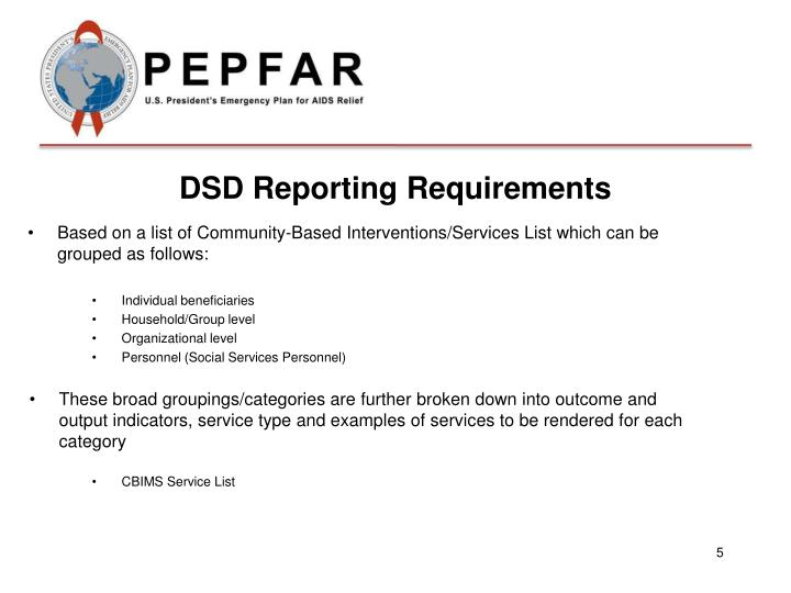 DSD Reporting Requirements