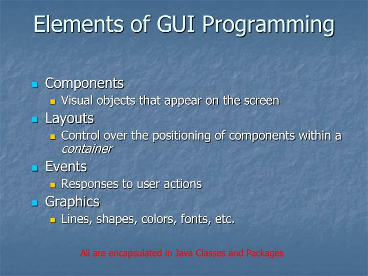 Elements of gui programming