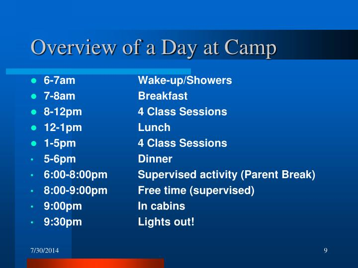 Overview of a Day at Camp