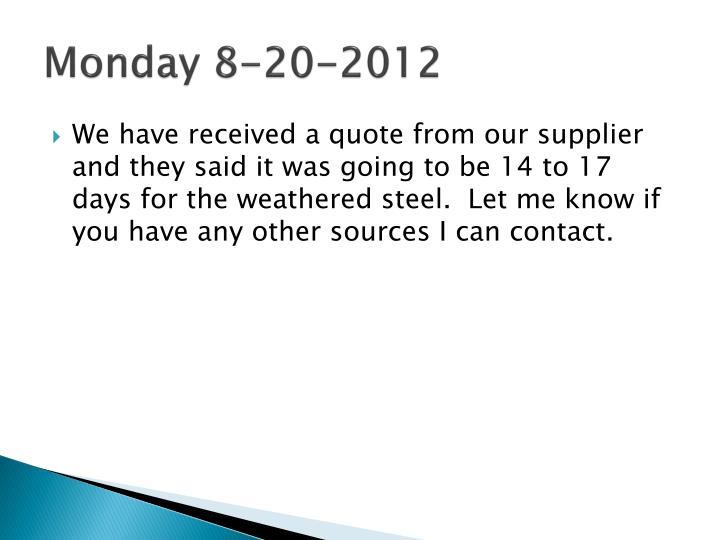 Monday 8-20-2012