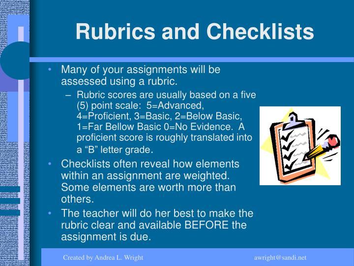 Rubrics and Checklists