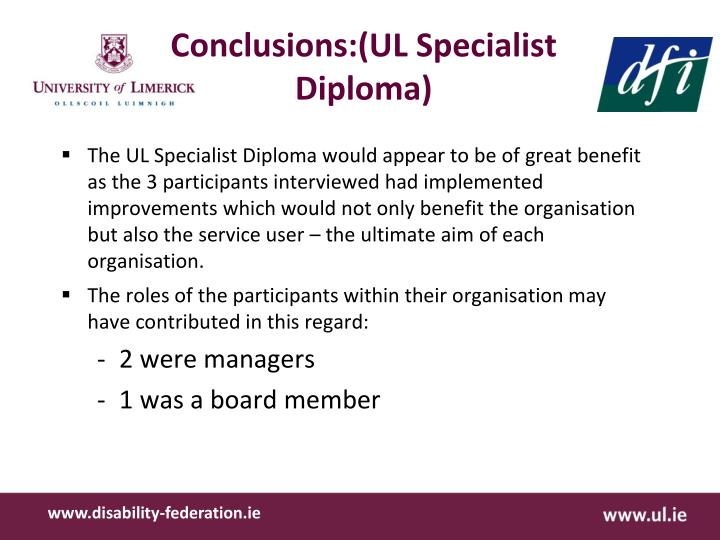 Conclusions:(UL Specialist