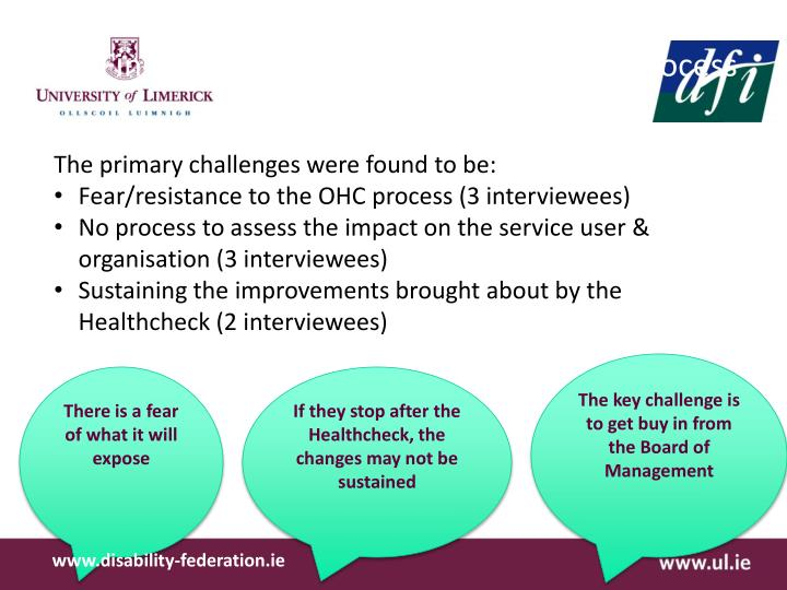 Findings from Interviews on the OHC process