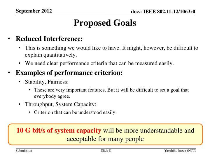 Proposed Goals