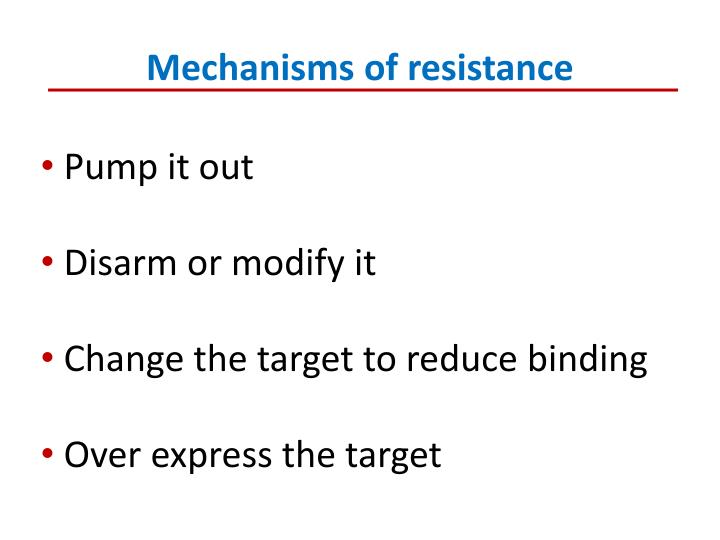 Mechanisms of resistance