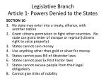 legislative branch article 1 powers denied to the states