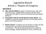 legislative branch article 1 powers of congress1