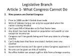 legislative branch article 1 what congress cannot do1