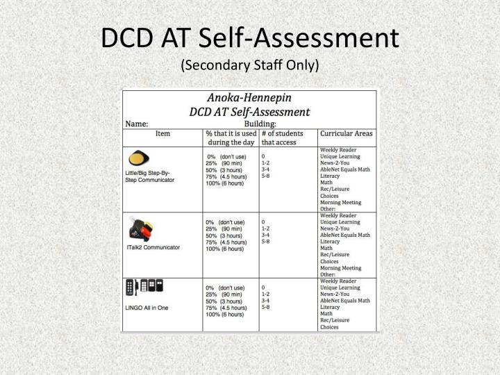 DCD AT Self-Assessment