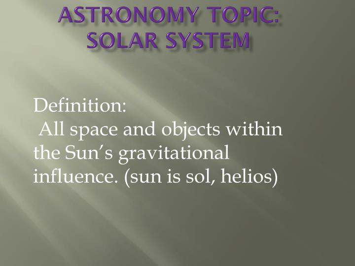 astronomy topic solar system