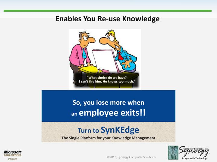 Enables You Re-use Knowledge