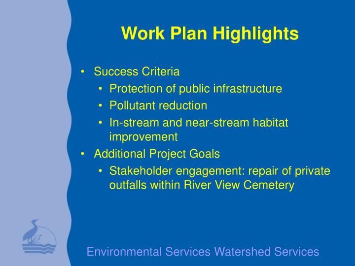 Work Plan Highlights