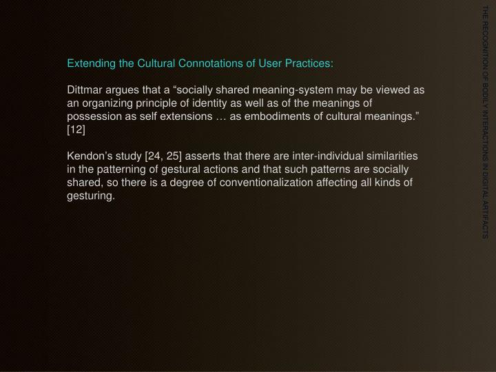 Extending the Cultural Connotations of User Practices: