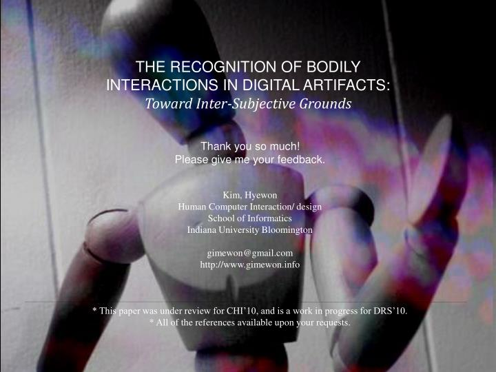 THE RECOGNITION OF BODILY