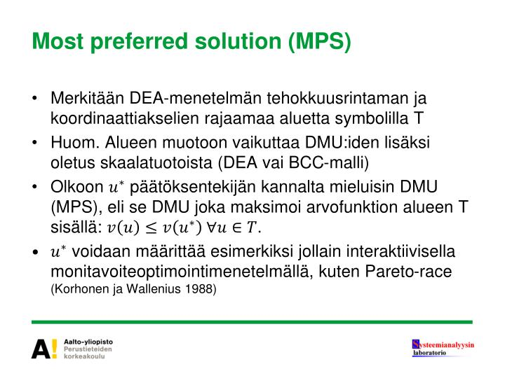 Most preferred solution (MPS)