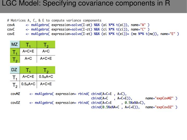 LGC Model: Specifying covariance components in R