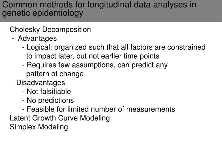 Common methods for longitudinal data