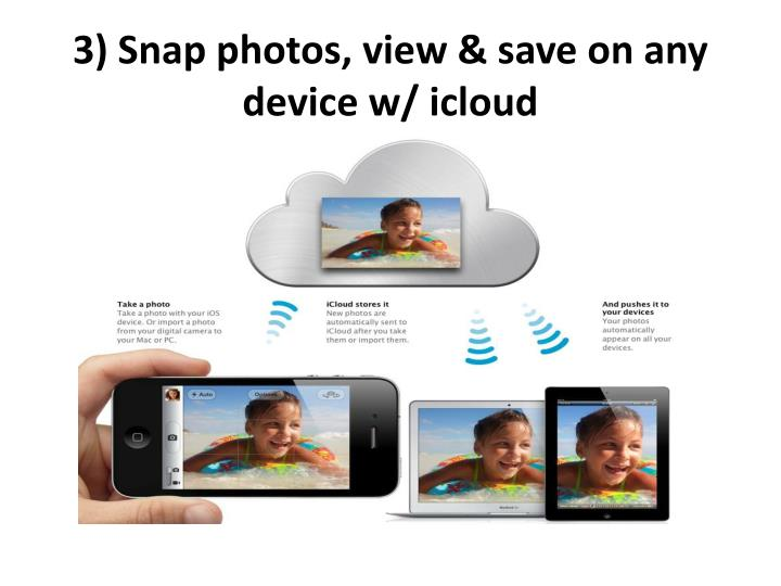 3)Snap photos, view & save on any device w/