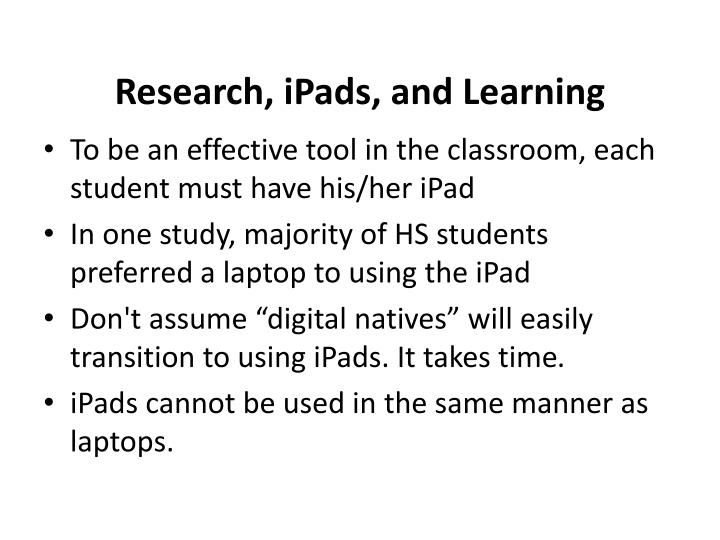 Research ipads and learning