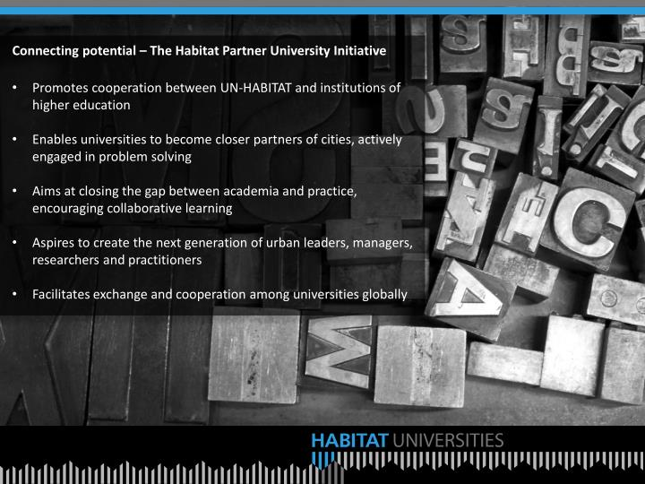 Connecting potential – The Habitat Partner University Initiative