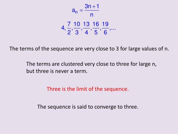 The terms of the sequence are very close to 3 for large values of n.