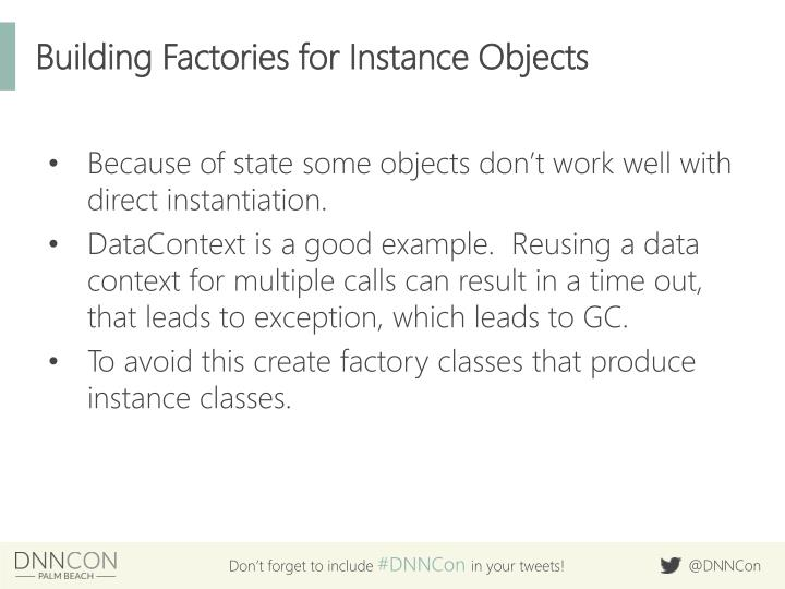 Building Factories for Instance Objects