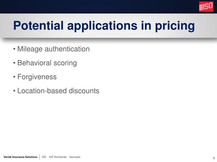 Potential applications in pricing
