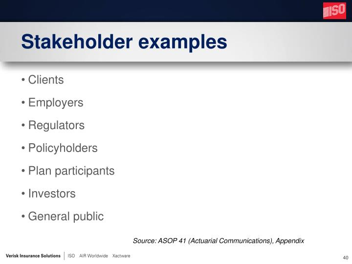 Stakeholder examples