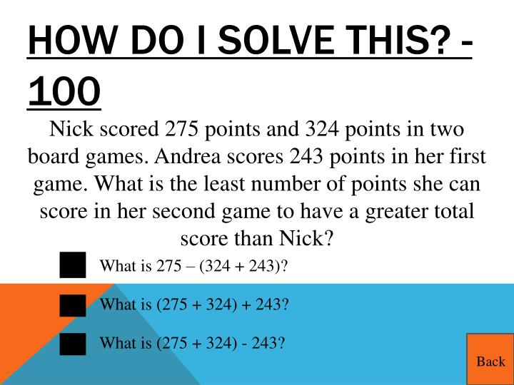 How do I solve this? - 100