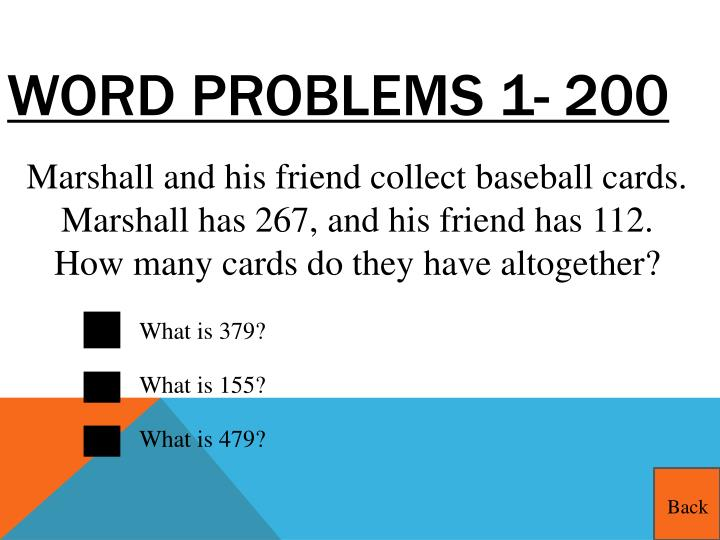 Word Problems 1- 200