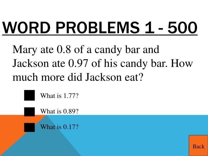 Word Problems 1 - 500