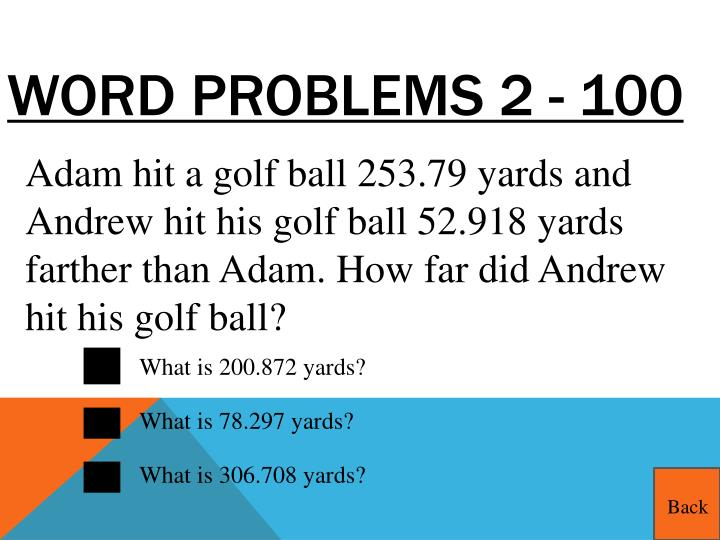 Word Problems 2 - 100